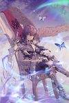 1girl absurdres armor bird blue_eyes boots butterfly cracked gauntlets greaves hawk highres legs_crossed looking_at_viewer medium_hair ne_cccy3345 night night_sky outdoors purple_hair shooting_star sitting sky solo sword throne tiara water weapon
