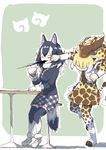 2girls absurdres animal_ears belt black_hair black_jacket black_legwear boots breast_pocket brown_hair brown_neckwear cup fur_collar fur_trim giraffe_ears giraffe_horns giraffe_print giraffe_tail grey_wolf_(kemono_friends) highres holding holding_cup jacket japari_symbol kemono_friends long_hair long_sleeves miniskirt multicolored multicolored_clothes multicolored_hair multicolored_legwear multiple_girls no_eyes plaid plaid_neckwear plaid_skirt pleated_skirt pocket print_legwear print_skirt punching reticulated_giraffe_(kemono_friends) skirt stool table tail thighhighs uepon_(shimo_ponzu) white_footwear white_hair white_legwear wolf_ears wolf_tail zettai_ryouiki