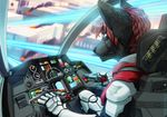 2017 5_fingers anthro armor biped black_nose building canine city clothed clothing cockpit detailed_background digital_media_(artwork) fighterjet fire fur hair machine male mammal mecha pilot sitting solo wolf