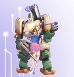 1girl absurdres alternate_costume alternate_hairstyle arms_up bangs bastion_(overwatch) black_panties braid breasts brown_eyes brown_hair bunny_hair_ornament commentary_request d.va_(overwatch) distress facial_mark full_body gatling_gun gradient gradient_background gun hair_ornament hanbok highres korean_clothes long_hair long_sleeves looking_at_another looking_at_viewer looking_down medium_breasts mute_(c20029) open_mouth overwatch palanquin_d.va panties panty_pull pink_skirt purple_background restrained robot shoes skirt socks standing striped_sleeves teeth underwear weapon whisker_markings white_legwear