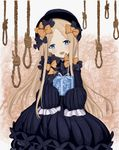 1girl :d abigail_williams_(fate/grand_order) bangs black_bow black_dress black_hat blue_eyes blush bow box butterfly commentary dress fate/grand_order fate_(series) forehead gift gift_box hair_bow hat head_tilt highres holding holding_gift light_brown_hair long_sleeves looking_at_viewer noose open_mouth orange_bow parted_bangs polka_dot polka_dot_bow rope sleeves_past_wrists smile solo tinkleing upper_teeth