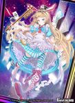 1girl alice_(wonderland) animal_ears apron blonde_hair blue_eyes boots bow bunny_ears card clock copyright_name feathers force_of_will hat heterochromia key long_hair official_art red_eyes solo sparkle thighhighs tongue tongue_out wednesday_(starsilver)