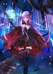 1girl bird book breasts cape cleavage crow elbow_gloves gloves jewelry long_hair magic_circle original purple_hair red_eyes revision small_breasts solo thighhighs very_long_hair wand weed_(astarone)