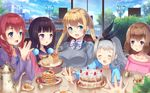 1boy 4girls :d :o absurdres amano_miu artist_name black_hair blend_s blonde_hair blue_eyes blue_sky blush bow braid bread breasts brown_hair cake cloud cup day eye_contact eyes_closed facing_viewer food fruit grey_hair grey_sweater hands_together highres hinata_kaho holmemee hoshikawa_mafuyu jacket kanzaki_hideri lamppost large_breasts long_hair looking_at_another multiple_girls open_mouth outstretched_arms pancake plater purple_eyes red_hair sakuranomiya_maika scenery school_uniform serafuku sitting sky small_breasts smile stack_of_pancakes strawberry striped striped_bow sweater syrup table tea teacup twintails