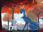 2017 blue_skin chromamancer day detailed_background digital_media_(artwork) dragon duo female feral green_eyes horn male membranous_wings outside sky smile tree wings