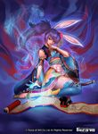 1girl animal_ears bunny_ears copyright_name force_of_will japanese_clothes katana long_hair misa_tsutsui official_art purple_hair red_eyes sandals scroll sitting solo sparkle sword thighhighs weapon