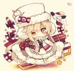 1girl ;) aircraft airplane animal azur_lane bald_eagle bangs belt belt_buckle bird black_belt black_shirt blush buckle chibi christmas closed_mouth eagle earmuffs enterprise_(azur_lane) eyebrows eyebrows_visible_through_hair eyelashes flight_deck full_body fur_hat fur_trim gift hat hat_ornament horizontal_stripes leaf leg_up long_hair muuran one_eye_closed parted_bangs purple_eyes reindeer ribbon santa_hat scarf shadow shirt sidelocks signature silver_hair skirt sleigh smile snowman socks solo standing standing_on_one_leg star straight_hair striped striped_ribbon translation_request tsurime ushanka very_long_hair white_hat white_legwear white_scarf white_skirt