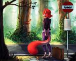2017 anthro avian bird canine clothed clothing detailed_background digital_media_(artwork) duo female feral mammal monster_tail neytirix red_wolf stanidng wolf