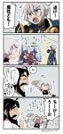 1girl 2boys 4koma :> :d ? ^_^ afterimage asaya_minoru bandage bandaged_arm bandages bangs bare_shoulders beard black_gloves black_hair black_shirt blue_cape cape closed_eyes comic edward_teach_(fate/grand_order) eyebrows_visible_through_hair eyes_closed facial_hair facial_scar fate/grand_order fate_(series) fingerless_gloves flailing flying_sweatdrops gao_changgong_(fate) gloves grey_hair hair_between_eyes holding holding_mask horns jack_the_ripper_(fate/apocrypha) mask mask_removed multiple_boys mustache navel open_mouth petals profile purple_eyes scar scar_across_eye scar_on_cheek shirt silver_hair single_glove sleeveless sleeveless_shirt smile sparkle translation_request twitter_username v-shaped_eyebrows white_shirt