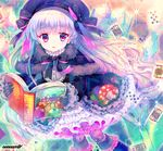 1girl absurdres ace_of_diamonds alice_(wonderland) alice_in_wonderland amo artist_name bangs beret black_bow black_capelet black_dress black_gloves black_hat black_legwear blush book bow cheshire_cat club_(shape) collar commentary_request diamond_(shape) doll_joints dress eyebrows_visible_through_hair fate/extra fate_(series) frilled_collar frilled_dress frilled_legwear frilled_sleeves frills fur-trimmed_capelet gloves hair_between_eyes hair_bow hat heart highres holding holding_book long_hair long_sleeves looking_at_viewer nursery_rhyme_(fate/extra) open_book pantyhose parted_lips purple_eyes silver_hair solo striped striped_bow very_long_hair