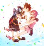 1boy 1girl bag baggy_pants baggy_shorts bangs belt belt_buckle black_shorts blue_eyes bow breasts brown_hair buckle chains confetti crown dress fingerless_gloves gloves grin hand_holding hood jacket jewelry kairi_(kingdom_hearts) kingdom_hearts kingdom_hearts_iii large_shoes looking_at_another medium_breasts medium_hair necklace pants pendant pink_dress pink_footwear pink_hair pouch purple_eyes ramochi_(auti) ribbon shoes short_hair short_sleeves shorts sleeveless smile sora_(kingdom_hearts) spiked_hair strap studded_belt white_background zipper