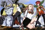 10s 2boys 2girls bandai black_hair breasts brown_eyes brown_hair cape creature digimon digimon_adventure digimon_adventure_tri. fangs female glasses horns kido_jou legs long_hair medium_breasts monster multiple_boys multiple_girls red_hair rosemon scan school_uniform serious shield shoes short_hair skirt sky tachikawa_mimi vikemon wallpaper weapon
