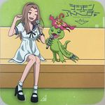 1girl bare_legs breasts claws digimon_adventure digimon_adventure_tri. dress female happy long_hair palmon scan shoes sitting smile tachikawa_mimi