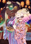 2girls cat cephalopod_eyes commentary dark_skin domino_mask eating eyes_closed festival food hair_ornament highres hime_(splatoon) holding holding_food iida_(splatoon) jajji-kun_(splatoon) japanese_clothes kimono lantern mask mask_on_head matchaneko mole mole_under_mouth multicolored multicolored_skin multiple_girls obi octarian open_mouth paper_lantern sash smile splatoon splatoon_(series) splatoon_2 suction_cups summer_festival takoyaki tentacle_hair wide_sleeves yukata