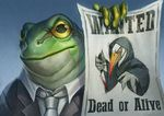 amphibian anthro business_suit clothed clothing digital_media_(artwork) frog looking_at_viewer male necktie pechschwinge suit wanted_poster yellow_eyes