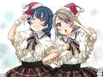 2girls :o alternate_hairstyle arm_behind_back blue_eyes blue_hair braid clenched_hand double-breasted earrings flower frilled_capelet frilled_skirt frills grey_hair grin hair_ornament hairpin hat holly jewelry locked_arms looking_at_viewer love_live! love_live!_sunshine!! low_twintails multiple_girls neck_ribbon one_eye_closed plaid plaid_skirt poinsettia purple_eyes ribbon rippe santa_hat short_hair short_twintails skirt smile star star_earrings tsushima_yoshiko twintails v-shaped_eyebrows w_over_eye watanabe_you