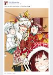 alternate_universe child christmas couple hat if_they_mated kuma_(bloodycolor) ruby_rose rwby salute santa_hat stress two-finger_salute weiss_schnee