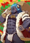 2017 abs anthro black_fur blue_hair broken_horn clothing digital_media_(artwork) feline fur hair hi_res horn krampus krampus_(housamo) lion littleblackalas male mammal muscular muscular_male pecs scar smile tokyo_afterschool_summoners