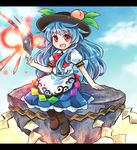 >:d 1girl black_hat blue_hair blue_skirt brown_footwear commentary_request food frilled_skirt frills fruit hat hat_leaf hinanawi_tenshi keystone letterboxed long_hair looking_at_viewer peach pote_(ptkan) puffy_short_sleeves puffy_sleeves red_eyes red_neckwear shirt short_sleeves skirt solo stone touhou very_long_hair white_shirt