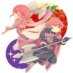 1girl armor axe brother_and_sister cape chibi fire_emblem fire_emblem:_monshou_no_nazo gloves long_hair minerva_(fire_emblem) misheil_(fire_emblem) nishimura_(nianiamu) red_eyes red_hair short_hair siblings weapon
