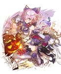 animal_ears cosplay dangerous_beast elbow_gloves fate/grand_order fate_(series) fur-trimmed_gloves fur-trimmed_legwear fur_collar fur_trim gloves hair_over_one_eye haku_(sabosoda) halloween_costume lace lace-trimmed_thighhighs lavender_hair mash_kyrielight o-ring o-ring_top purple_eyes purple_gloves purple_legwear revealing_clothes short_hair tail thighhighs wolf_ears wolf_tail