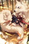 1girl animal_ears ankleband bamboo bamboo_forest bangs bare_shoulders blue_eyes breasts cleavage collar commentary_request dog dog_collar eyeshadow forest hair_between_eyes high_heels highres holding holding_sword holding_weapon japanese_clothes katana kyouya_(mukuro238) large_breasts leg_up long_hair looking_at_viewer makeup nature new_year o-ring original outdoors paw_print puffy_pants short_eyebrows sitting solo sword tail weapon white_hair wolf_ears wolf_tail year_of_the_dog yellow_footwear