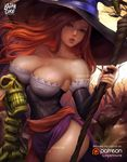 armpits artist_name backlighting bare_shoulders bare_tree black_dress black_hat breasts brown_eyes cleavage collarbone cowboy_shot detached_sleeves dragon's_crown dress fingernails hat head_tilt highres holding large_breasts lips logan_cure long_hair long_sleeves looking_at_viewer nail_polish orange_hair parted_lips patreon_logo pelvic_curtain purple_nails rock sash skeleton skull sorceress_(dragon's_crown) standing strapless strapless_dress teeth thighs tree watermark web_address witch_hat