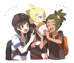 /\/\/\ 3boys :d ^_^ ^o^ ahoge backpack bag baseball_cap black_eyes black_hair black_hat black_shirt blonde_hair blush dark_skin drawstring ear_piercing eyes_closed food gladio_(pokemon) green_eyes green_hair hair_over_one_eye hat hau_(pokemon) holding holding_food hood hood_down hoodie index_finger_raised long_sleeves looking_at_viewer male_focus multiple_boys open_mouth piercing pokemon pokemon_(game) pokemon_sm ponytail round_teeth shirt short_sleeves simple_background smile striped striped_shirt sweatdrop teeth torn_clothes torn_sleeves unapoppo upper_body v-shaped_eyebrows white_background wrapper you_(pokemon_sm)
