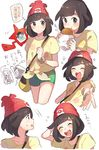 2girls ;d ^_^ ^o^ arm_behind_head arm_up bag beanie black_eyes blush brown_hair chibi_inset closed_mouth eating eyes_closed facing_viewer floating floral_print flying_sweatdrops food green_shorts happy hat highres holding holding_food legs_crossed looking_at_viewer mizuki_(pokemon_sm) motion_lines multiple_girls multiple_views no_hat no_headwear one_eye_closed open_mouth outstretched_arm pokemon pokemon_(game) pokemon_sm print_shirt profile red_hat rotom_dex round_teeth sanpaku shirt short_hair short_shorts short_sleeves shorts shoulder_bag simple_background smile sparkle standing surprised tareme teeth thought_bubble translation_request unapoppo upper_body white_background wrapper