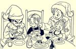2boys 2girls arms_up baby black_eyes black_hair black_shirt bra_(dragon_ball) brother_and_sister bulma cake chair dragon_ball eating eyes_closed family father_and_son food fork frown happy hat highres lee_(dragon_garou) long_sleeves looking_at_another monochrome mother_and_son multiple_boys multiple_girls open_mouth overalls plate santa_hat serious shirt short_hair siblings sitting trunks_(dragon_ball) vegeta