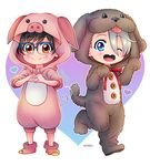 2boys ;d animal_costume black_hair blue-framed_eyewear blue_eyes brown_eyes character_name dog_costume glasses heart heart-shaped_mouth heart_hands iza_(izariez) katsuki_yuuri male_focus multiple_boys one_eye_closed open_mouth paw_pose pig_costume silver_hair smile viktor_nikiforov yuri!!!_on_ice