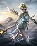 1girl alternate_costume backlighting bad_anatomy bad_leg barefoot_sandals blonde_hair brandon_dunn breasts cleavage cloud cloudy_sky day dress dual_wielding eyes_closed feathered_wings flying full_body gun handgun head_wreath high_ponytail highres holding holding_gun holding_staff holding_weapon laurel_crown looking_down mechanical_wings medium_breasts mercy_(overwatch) mountain nose outdoors overwatch pelvic_curtain pink_lips pistol short_hair short_sleeves sky smile solo spread_wings staff toga weapon white_dress winged_victory_mercy wings