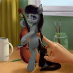 2015 black_hair book butt cello cup curtains desk digital_media_(artwork) digital_painting_(artwork) earth_pony equine eyebrows eyelashes female friendship_is_magic glass hair holding_object horse human jar long_hair looking_at_viewer looking_back mammal musical_instrument my_little_pony nude octavia_(mlp) open_mouth paintbrush pencil_(object) poking pony purple_eyes rallerae shadow signature solo_focus standing teeth window