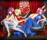 3girls :o ahoge bangs bare_legs blonde_hair blue_dress blue_eyes braid breasts china_dress chinese_clothes cleavage_cutout couch crown_braid dress eyebrows_visible_through_hair fan fate/extella_link fate_(series) fingernails folding_fan francis_drake_(fate) full_body green_eyes hair_bun hair_intakes high_heels jpeg_artifacts large_breasts long_dress long_fingernails lying medium_breasts multiple_girls nail_polish nero_claudius_(fate)_(all) pantyhose parted_bangs pink_hair purple_hair red_dress red_eyes scar scathach_(fate/grand_order) short_dress short_sleeves smile wada_aruko white_dress white_legwear