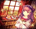 1girl bangs book book_hug bookshelf bow bowtie capelet chiyu_(kumataro0x0) closed_mouth crescent crescent_moon_pin cup curtains day double_bun eyebrows_visible_through_hair fingernails food fork fruit hairband highres holding holding_book house indoors lake lolita_hairband long_hair looking_at_viewer nail_polish patchouli_knowledge pink_eyes purple_hair purple_nails red_neckwear saucer smile solo spoon star strawberry strawberry_shortcake sugar_cube tea teacup touhou window