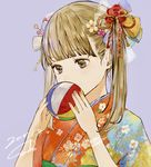 1girl absurdres ball bangs blunt_bangs brown_eyes brown_hair covering_mouth dated floral_print flower hair_flower hair_ornament hair_ribbon hair_stick highres holding holding_ball japanese_clothes kimono long_hair looking_down nail_polish original pink_nails purple_background ribbon sako_(user_ndpz5754) shiny shiny_hair signature simple_background solo tareme temari_ball twintails upper_body yellow_ribbon yukata
