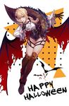 1girl alternate_costume alternate_hairstyle argyle ascot bangs bat black_gloves blonde_hair blush boots braid brown_footwear ck_(26982497) collared_shirt fangs finger_to_mouth flight floating floating_hair flying french_braid full_body girls_frontline gloves green_eyes gun halloween happy_halloween high_heel_boots high_heels holster index_finger_raised long_sleeves looking_at_viewer o-ring open_mouth outstretched_hand red_wings shiny shiny_clothes shiny_hair shirt short_hair_with_long_locks shushing simple_background skindentation smile solo star thigh_boots thigh_holster thighhighs torn_wings vampire vampire_costume weapon welrod_mk2_(girls_frontline) white_shirt wide_sleeves wind wind_lift wing_hair_ornament wings wristband