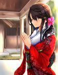 1girl alternate_costume black_hair commentary_request floral_print hair_between_eyes hair_ornament hairclip haruna_(kantai_collection) highres japanese_clothes jewelry kantai_collection kimono long_hair obi one_eye_closed ring sash shrine smile solo tsukui_kachou wedding_band yellow_eyes yukata