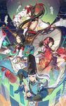 2boys 2girls absurdres armor black_hair blue_eyes bridal_gauntlets character_request circlet fire fish fish_hair_ornament fukafusa green_eyes hair_ornament hair_ribbon highres japanese_armor japanese_clothes kagura_(onmyoji) kimono long_hair looking_at_viewer mask mask_on_head multiple_boys multiple_girls onmyoji onmyouji oriental_umbrella ponytail red_eyes ribbon short_hair staff tress_ribbon umbrella very_long_hair white_hair