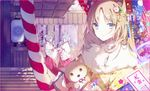 1girl 3girls animal animal_ears bangs bear_ears blonde_hair blue_bow blue_eyes blurry blurry_background blush border bow building bunny_ears bunny_tail closed_mouth day depth_of_field dog eyebrows_visible_through_hair floral_print flower fur_collar hair_bow hair_flower hair_ornament hakama holding holding_umbrella japanese_clothes kimono kinokohime long_hair long_sleeves looking_at_viewer low_ponytail miko multiple_girls oriental_umbrella original parted_bangs pink_border print_kimono purple_hair red_hakama ribbon-trimmed_sleeves ribbon_trim rope shimenawa smile solo sunlight tail umbrella upper_body white_kimono wide_sleeves yellow_kimono yukata