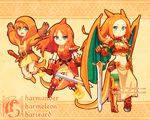 abstract_background armor bangage belt boots breasts charizard charmander charmeleon clothed clothing crouching dav-19 female flaming_tail footwear front_view fully_clothed gauntlets gloves green_eyes hair holding_object holding_weapon hood humanoid jumping leather leather_armor legwear loincloth looking_at_viewer melee_weapon membranous_wings nintendo orange_theme pauldron pokéball pokémon pokémon_(species) pokemon_humanoid red_hair spiked_armor spread_wings standing sword tights tunic unconvincing_armor video_games weapon wings