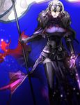 1girl armor armored_dress banner blonde_hair cape fate/apocrypha fate_(series) flag fur_collar gauntlets headpiece highres holding holding_sword holding_weapon jeanne_d'arc_(alter)_(fate) jeanne_d'arc_(fate)_(all) short_hair sword thighhighs weapon yosi135