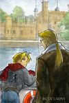 2boys :d artist_name belt blonde_hair city coat edward_elric father_and_son fullmetal_alchemist glasses gloves grey_shirt long_hair looking_at_another looking_back male_focus multiple_boys open_mouth pants ponytail scarf shirt short_hair smile tree twitter_username urikurage van_hohenheim white_shirt yellow_eyes