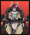1girl absurdres alternate_costume animal_ears arachne bare_shoulders black_border black_hair blue_skin blush border breasts claws cleavage commentary commission ehrrr eyepatch fangs flower fur fur_collar gradient gradient_background grin hair_flower hair_ornament highres horns insect_girl large_breasts long_hair looking_at_viewer monster_girl monster_girl_encyclopedia paws red_background simple_background smile solo spider_girl ushi-oni_(monster_girl_encyclopedia) yellow_eyes