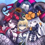 1boy 3girls :d abigail_williams_(fate/grand_order) armor artoria_pendragon_(all) bangs black_bow black_dress black_gloves black_hat blonde_hair blue_hair blush bow carnivorous_plant caster_(fate/zero) closed_mouth collarbone commentary_request dress elbow_gloves eyebrows_visible_through_hair eyes_closed fate/grand_order fate_(series) gilles_de_rais_(fate/grand_order) girl_sandwich gloves green_eyes grimjin grin hand_up hat hat_bow head_tilt highres katsushika_hokusai_(fate/grand_order) long_hair long_sleeves looking_at_viewer multiple_girls open_mouth orange_bow pale_skin parted_bangs print_bow puffy_long_sleeves puffy_sleeves purple_eyes purple_hair revealing_clothes saber sandwiched sharp_teeth smile star star_print strapless strapless_dress suction_cups sweat sweating_profusely teeth tentacle turn_pale v-shaped_eyebrows very_long_hair witch_hat
