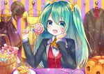 aqua_eyes aqua_hair asakishoten blush bow candy dress halloween hat jpeg_artifacts lollipop long_hair pumpkin twintails witch_hat