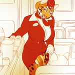 aircraft airplane ambiguous_gender anthro balls big_breasts blonde_hair breasts cleavage clothed clothing clothing_lift dickgirl duo feline flaccid fur hair hair_bun hammer_and_sickle hat hi_res huge_breasts humanoid_penis intersex legwear mammal nikcesco partially_clothed penis presenting presenting_penis red_clothing red_eyes skirt skirt_lift smile solo_focus spots standing stockings stripes tiger uniform yellow_fur