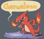 charmeleon dialogue english_text izaart nintendo pokémon pokémon_(species) robert_iza simple_background solo text video_games
