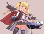 1girl :d ahoge amazon_(azur_lane) ass_visible_through_thighs azur_lane bangs belt black_gloves black_legwear black_skirt blonde_hair blue_eyes blunt_bangs blush cape commentary_request cowboy_shot eyebrows_visible_through_hair fang gloves holding holding_sword holding_weapon long_hair long_sleeves looking_at_viewer neck_ribbon open_mouth outstretched_arms panties pantyshot pantyshot_(standing) pink_background pleated_skirt pointing rapier red_cape red_ribbon ribbon shirt simple_background skirt smile solo spread_arms standing sumiyao_(amam) sword thighhighs twintails underwear v-shaped_eyebrows weapon white_panties white_shirt
