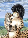 2006 age_difference black_hair black_pawpads blue_sky breastfeeding breasts chakat claws cloud cub detailed_background duo feline female fur grass green_eyes hair kacey mammal nature nipples older_female outside pawpads sea sky spots spotted_fur taur traditional_media_(artwork) walker_(colony) water whiskers young